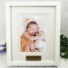 Baptism Personalised Photo Frame White Timber Verdure 5x7