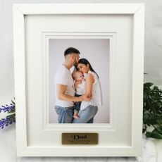 Dad Personalised Photo Frame White Timber Verdure 5x7