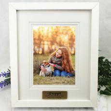 Pet Personalised Photo Frame White Timber Verdure 5x7