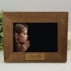 1st Holy Communion personalised Teak Photo Frame with Gold Plaque