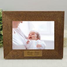 Baptised Personalised Teak Photo Frame with Gold Plaque