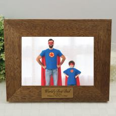 Dad Personalised Teak Photo Frame with Gold Plaque