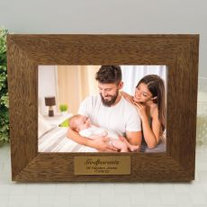 GodParents Personalised Teak Photo Frame with Gold Plaque