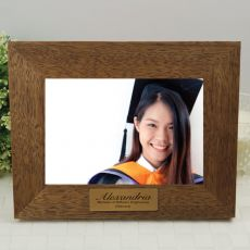 Graduation Personalised Teak Photo Frame with Gold Plaque