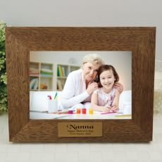 Nan Personalised Teak Photo Frame with Gold Plaque