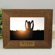 Pop Personalised Teak Photo Frame with Gold Plaque