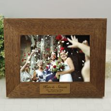 Wedding Teak Photo Frame with Gold Plaque