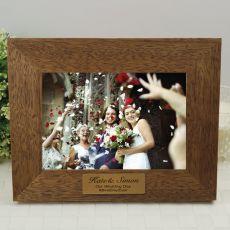 Wedding Teak Photo Frame with Gold Plaque