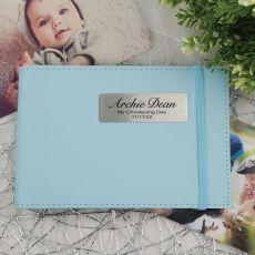 Personalised Christening Baby Boy Brag Photo Album - Blue