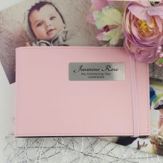 Personalised Christening Baby Girl Brag Photo Album - Pink