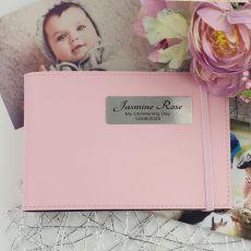 Personalised Christening Baby Girl Brag Photo Album - Pink