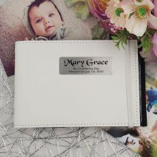 Personalised Christening Baby Brag Photo Album - White