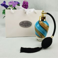 50th Birthday Perfume Bottle w Personalised Bag Blue Swirl