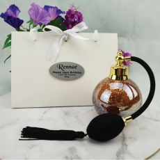 60th Birthday Perfume Bottle w Personalised Bag Gold Fleck