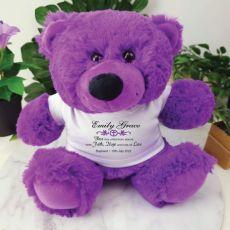 Baptism Teddy Bear Plush Purple Verse