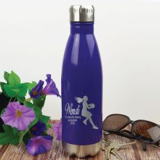 Netball  Coach Engraved Stainless Steel Drink Bottle - Purple