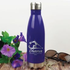 Swim  Coach Engraved Stainless Steel Drink Bottle - Purple
