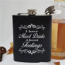 Novelty Engraved Black Hip Flask - Feelings