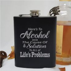 Novelty Engraved Black Hip Flask - Lifes Problems
