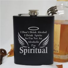 Novelty Engraved Black Hip Flask - Spiritual