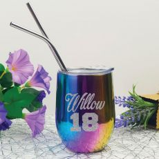 18th Birthday Rainbow Tumbler Stemless Wine Glass