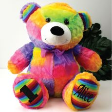 Personalised 1st Birthday Teddy Bear 40cm Plush Rainbow