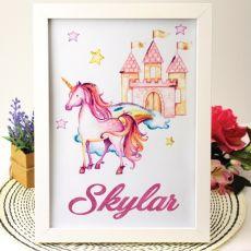 Personalised Framed Glitter Print - Unicorn