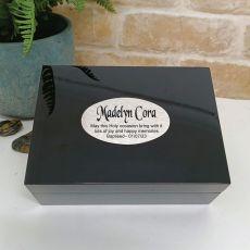 Baptism Personalised Black Trinket Jewel Box