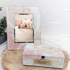 Naming Day Marmo Frame & Jewel Box Set