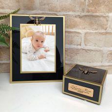 Christening Black Bee 5x7 Frame & Jewel Box Set