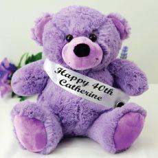 Personalised 40th Birthday Bear with Sash- Lavender