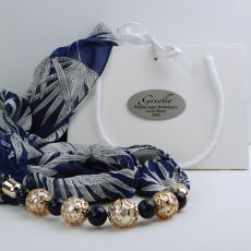 Navy Chiffon Scarf with Necklace in Personalised Box - Birthday