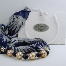 Navy Chiffon Scarf with Necklace in Personalised Box - Mum