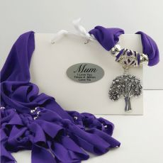 Purple Jersey Scarf with Pendant in Personalised Box - Mum