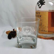 30th Birthday Engraved Personalised Scotch Spirit Glass (F)