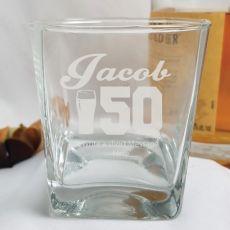 50th Birthday  Engraved Personalised Scotch Spirit Glass (M)
