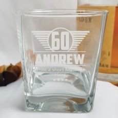 60th Birthday Engraved Personalised Scotch Spirit Glass (M)