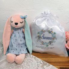 Hallie Bunny Personalised Plush with Satin Gift Bag