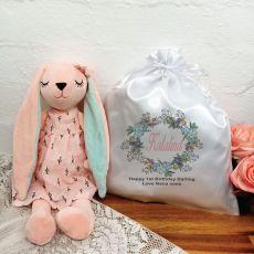 1st Birthday Bunny Plush with Satin Gift Bag
