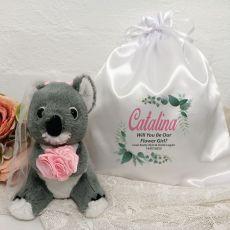Flower Girl Koala Bear Personalised Satin Gift Bag