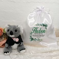 Page Boy Koala Bear Personalised Satin Gift Bag