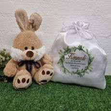Biscuit Bunny in Personalised Satin Gift Bag