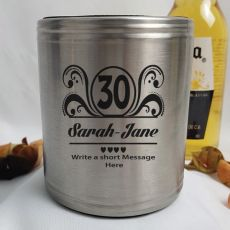 30th Birthday Engraved Silver Stubby Can Cooler Personalised Message