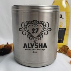 Birthday Engraved Silver Stubby Can Cooler Female Designs