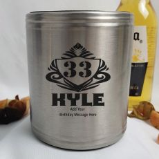 Personalised Silver Birthday Can Cooler- Male Gift