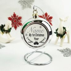 Personalised 1st Christmas Bauble - Silver