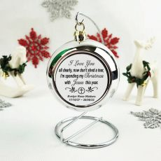 Memorial Christmas Bauble with Quote - Silver
