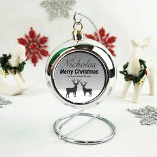 Personalised Christmas Bauble - Silver Reindeer