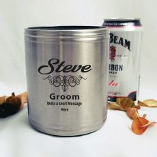 Groom Engraved Silver Stubby Can Cooler Personalised Message