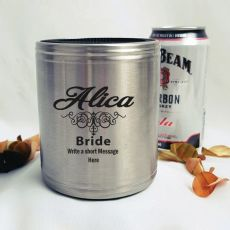 Bride Engraved Silver Stubby Can Cooler Personalised Message